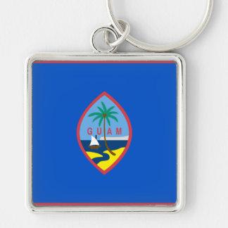 Guam Flag GU Silver-Colored Square Key Ring