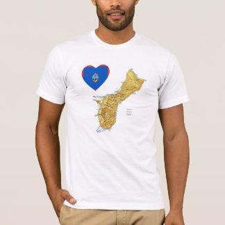 Guam Flag Heart and Map T-Shirt