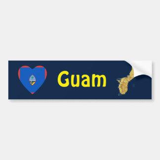 Guam Flag Heart + Map Bumper Sticker
