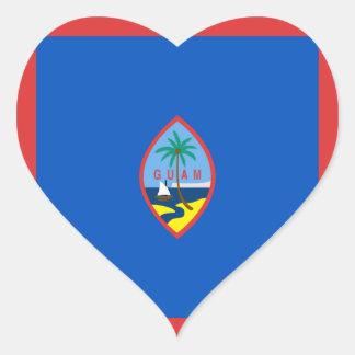 Guam Flag Heart Sticker