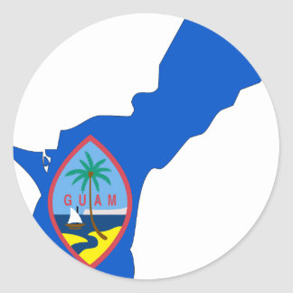 Guam Flag Map Classic Round Sticker