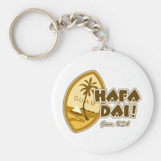 Guam Hafa Dai Basic Round Button Key Ring