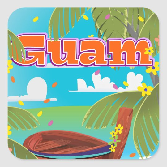 Guam Island holiday travel poster. Square Sticker