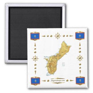 Guam Map + Flags Magnet