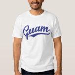 Guam script logo in blue distressed tshirts