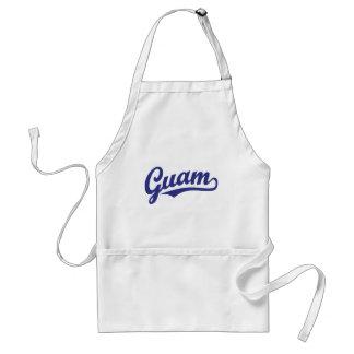 Guam script logo in blue standard apron