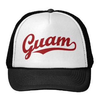 Guam script logo in red cap