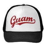 Guam script logo in red mesh hat