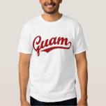 Guam script logo in red t-shirts