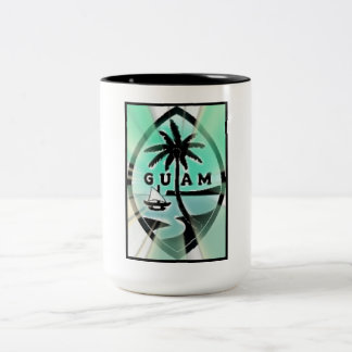 Guam Seal w Sun Rays Two-Tone Coffee Mug