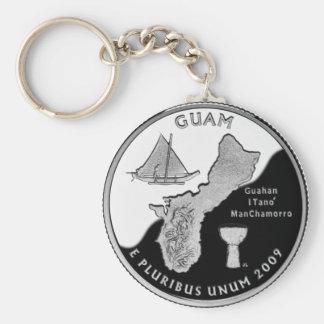 Guam state quarter basic round button key ring