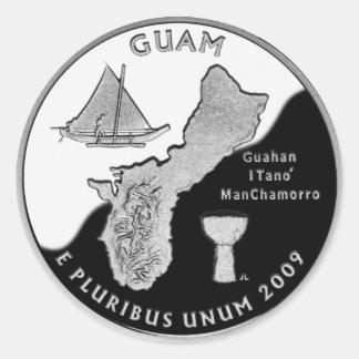 Guam state quarter classic round sticker