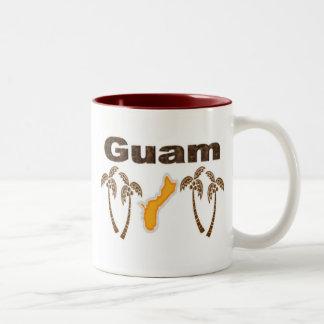 Guam with palm trees Two-Tone coffee mug