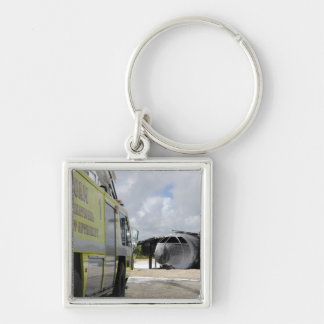 Guam's WONPAT Airport Silver-Colored Square Key Ring