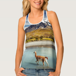 Guanaco crossing the river in Torres del Paine Tank Top