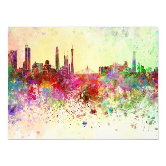 Guangzhou skyline in watercolor background art photo