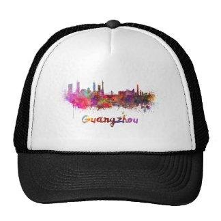 Guangzhou skyline in watercolor splatters gorros bordados