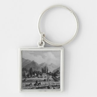 Guanta , from 'Historia de Chile', 1854 Silver-Colored Square Key Ring