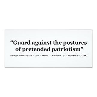 Guard Against the Postures of Pretended Patriotism 10 Cm X 24 Cm Invitation Card