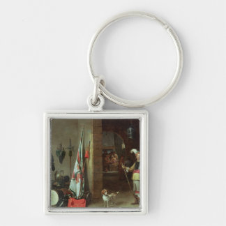 Guard Room Silver-Colored Square Key Ring