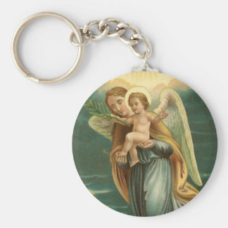 Guardian Angel And Baby Jesus Basic Round Button Key Ring