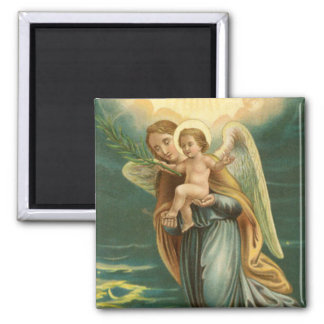 Guardian Angel And Baby Jesus Fridge Magnet