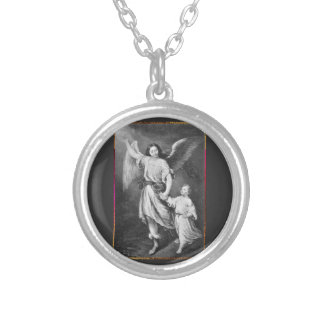 Guardian Angel And Child Silver Plated Necklace