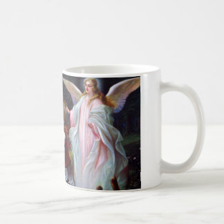 Guardian angel and children on bridge coffee mug