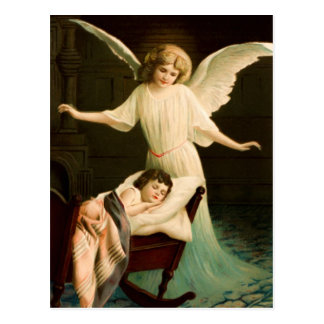 Guardian angel and sleeping child postcard