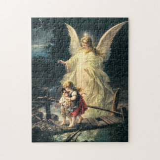 Guardian angel and two children on bridge jigsaw puzzle