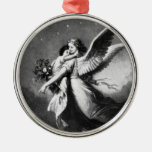 Guardian Angel At Night Silver-Colored Round Decoration