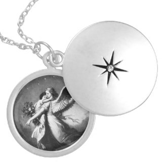 Guardian Angel At Night Silver Plated Necklace