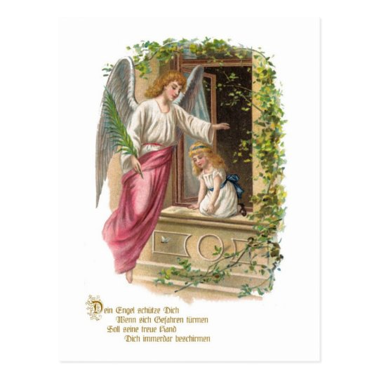 Guardian angel at the window postcard