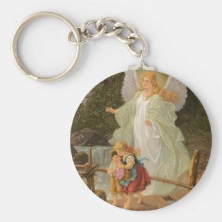 Guardian Angel Basic Round Button Key Ring
