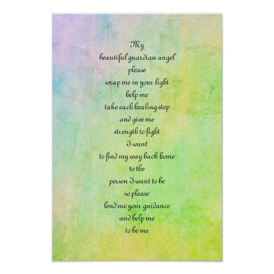 'Guardian angel' blessing poem art poster. Poster