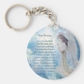 Guardian Angel Blessings Basic Round Button Key Ring