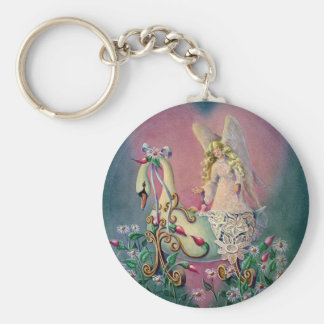 GUARDIAN ANGEL by SHARON SHARPE Basic Round Button Key Ring