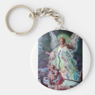 GUARDIAN ANGEL c. 1900 Basic Round Button Key Ring