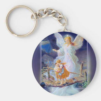 Guardian Angel, Children and Bridge Basic Round Button Key Ring