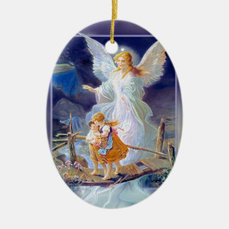 Guardian Angel, Children and Bridge Christmas Ornament
