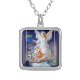 Guardian Angel, Children and Bridge Silver Plated Necklace