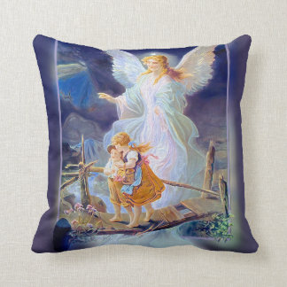 Guardian Angel, Children and Bridge Throw Pillow