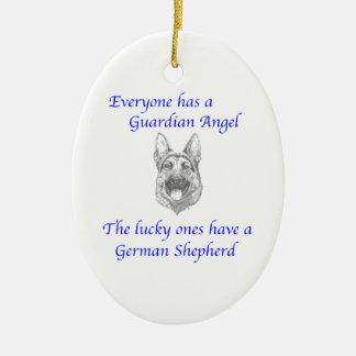 GUARDIAN ANGEL GERMAN SHEPHERD CHRISTMAS ORNAMENT