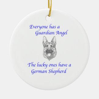 GUARDIAN ANGEL GERMAN SHEPHERD ROUND CERAMIC DECORATION