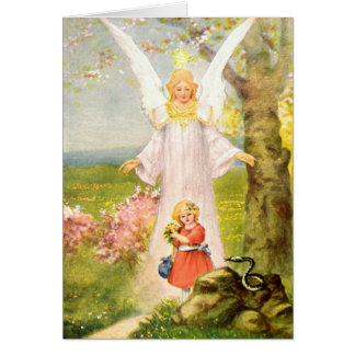 Guardian angel girl and queue card