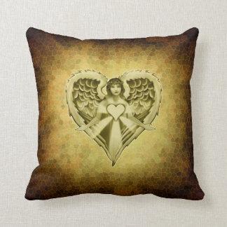 Guardian Angel Heart Wings Design Pillow