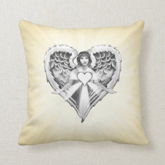 Guardian Angel Heart Wings Design Cushion