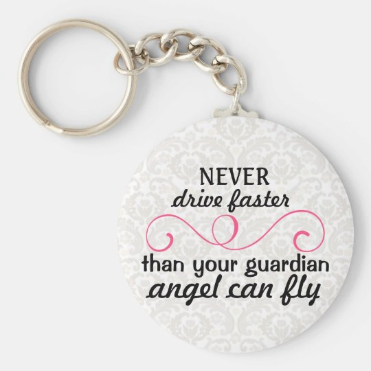 Guardian Angel Key Chain Pink Grey