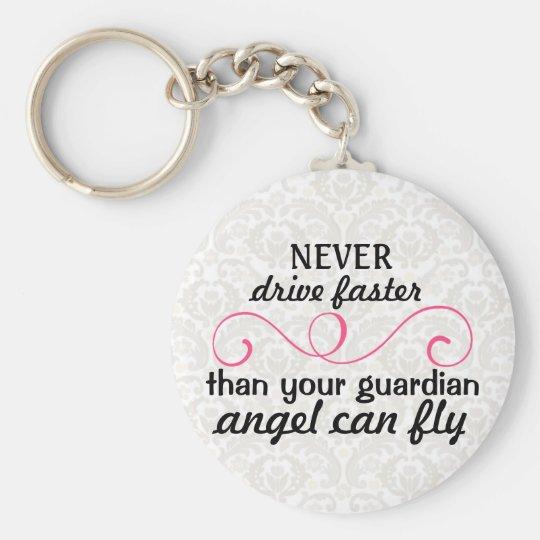 Guardian Angel Key Chain Pink Grey