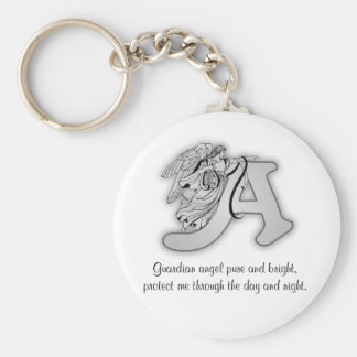Guardian Angel Letter A Basic Round Button Key Ring